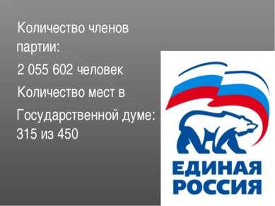 Количество членов партии: 2 055 602 человек Количество мест в Государственной...