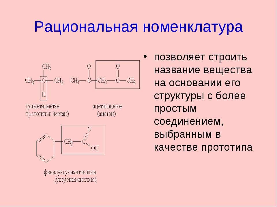 Рациональная номенклатура позволяет строить название вещества на основании ег...