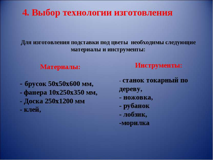 Материалы: - брусок 50х50х600 мм, - фанера 10х250х350 мм, - Доска 250х1200 мм...