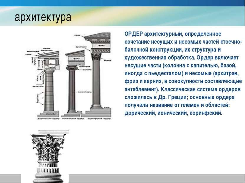архитектура ОРДЕР архитектурный, определенное сочетание несущих и несомых час...