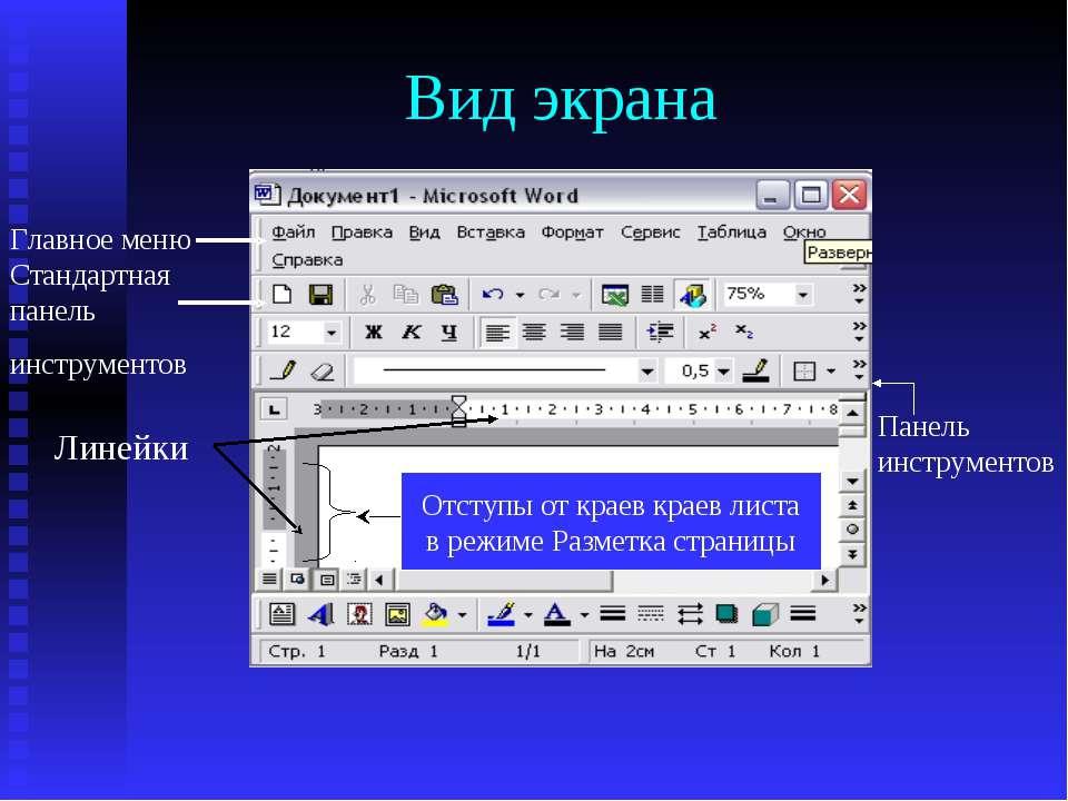 Вид экрана