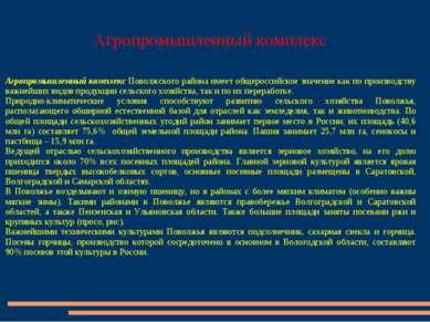 Агропромышленный комплекс Агропромышленный комплекс Поволжского района имеет ...