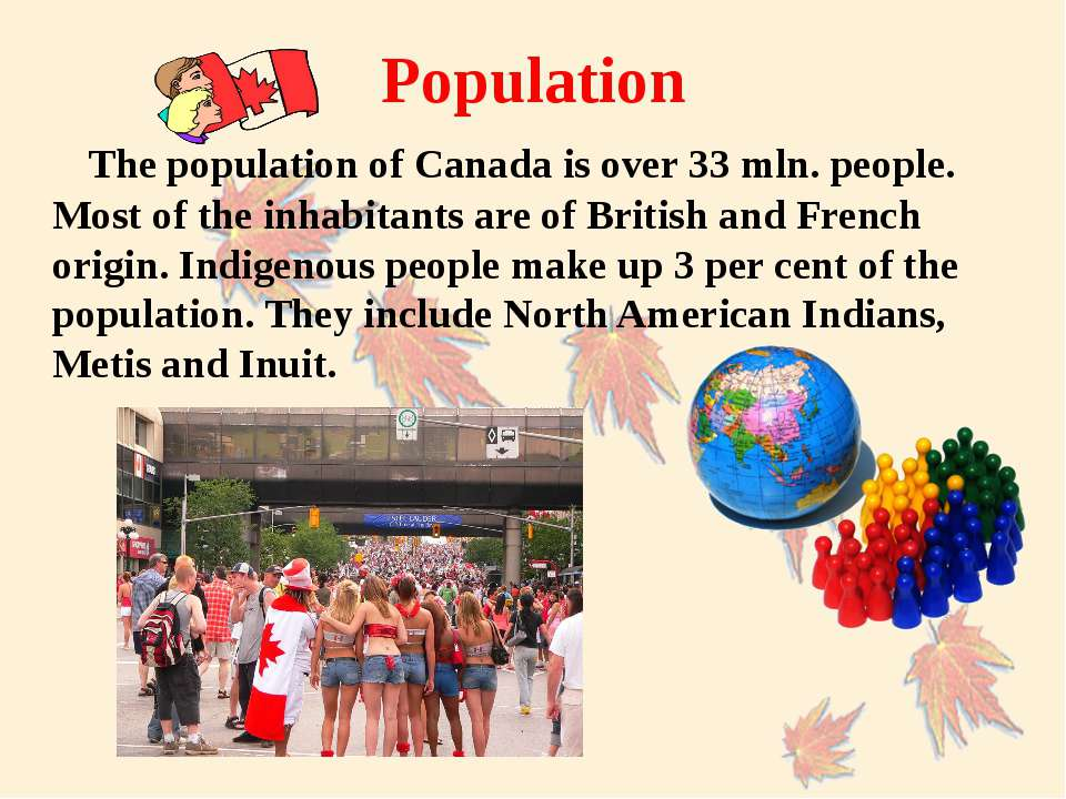 The population of Canada is over 33 mln. people. Most of the inhabitants are ...