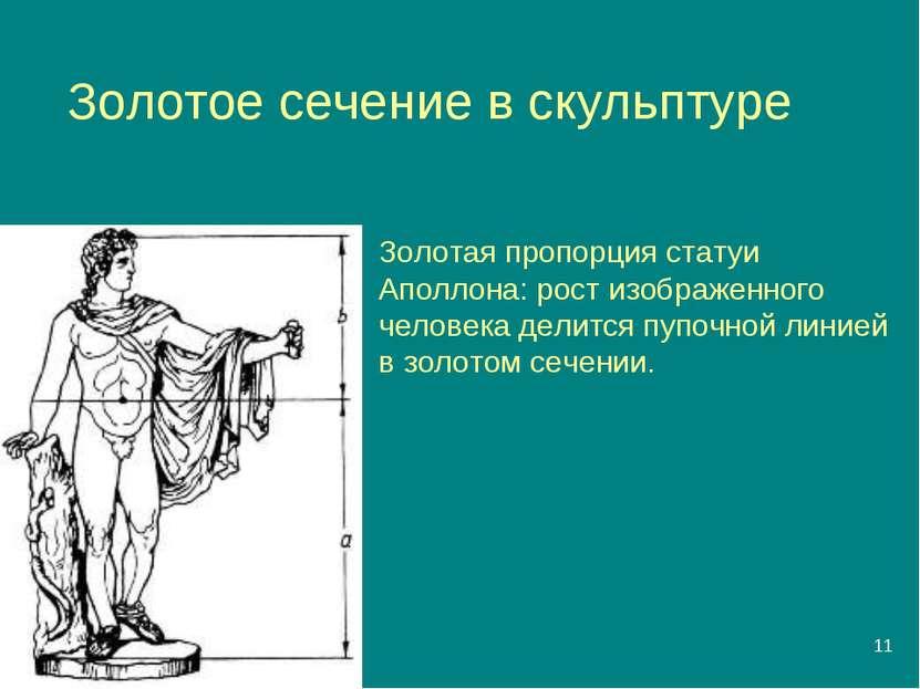 * Золотое сечение в скульптуре Золотая пропорция статуи Аполлона: рост изобра...