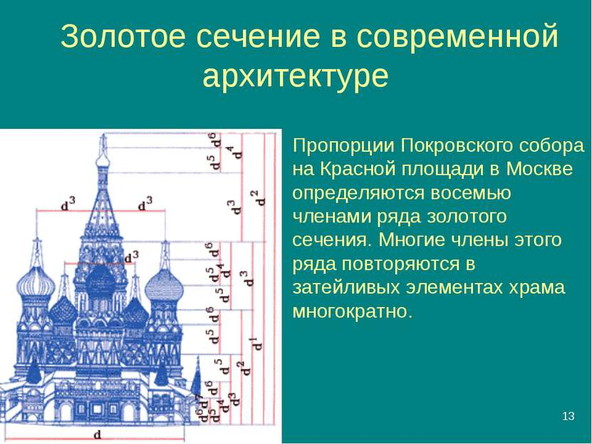 * Золотое сечение в современной архитектуре Пропорции Покровского собора на К...