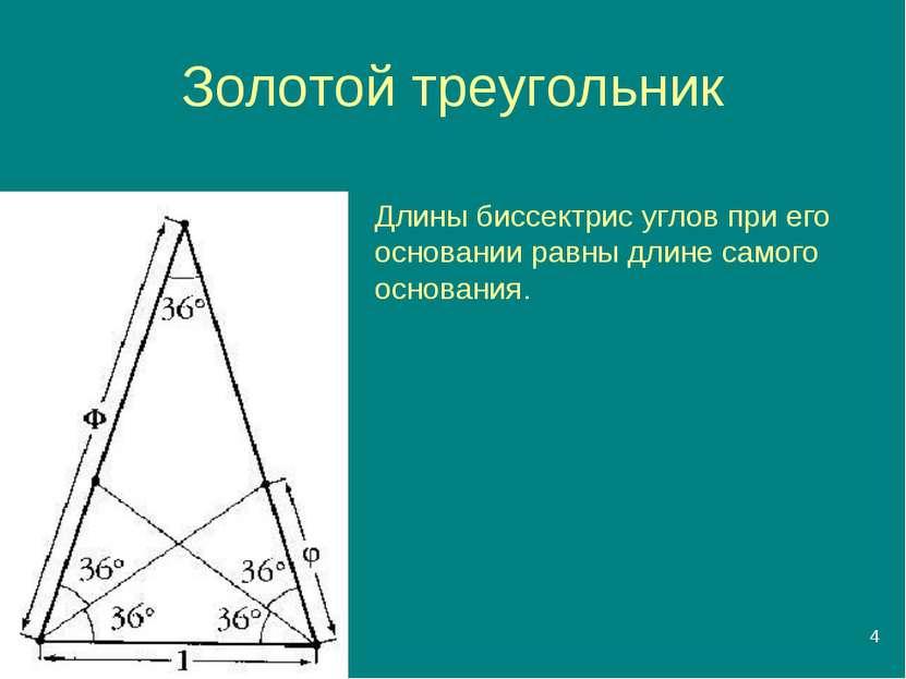 * Золотой треугольник Длины биссектрис углов при его основании равны длине са...