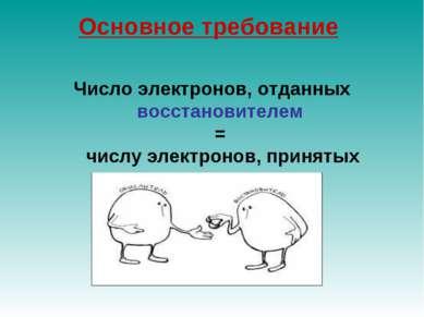Основное требование Число электронов, отданных восстановителем = числу электр...
