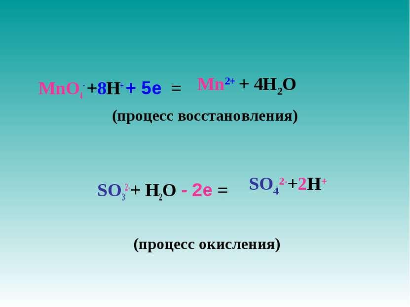 MnO4- +8H+ + 5е = (процесс восстановления) SO32-+ H2O - 2е = (процесс окислен...