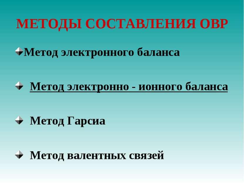 МЕТОДЫ СОСТАВЛЕНИЯ ОВР Метод электронного баланса Метод электронно - ионного ...