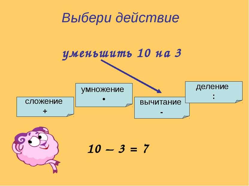умножение • сложение + вычитание - деление : Выбери действие уменьшить 10 на ...