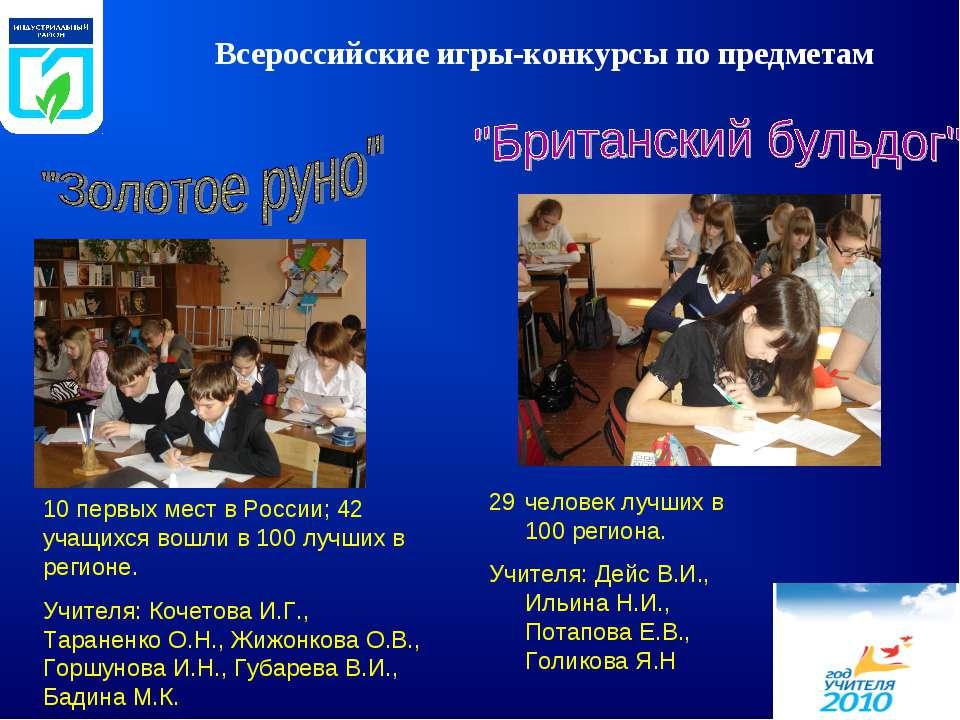 Всероссийские игры-конкурсы по предметам 10 первых мест в России; 42 учащихся...