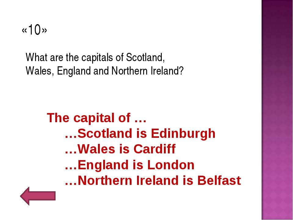 «10» What are the capitals of Scotland, Wales, England and Northern Ireland? ...