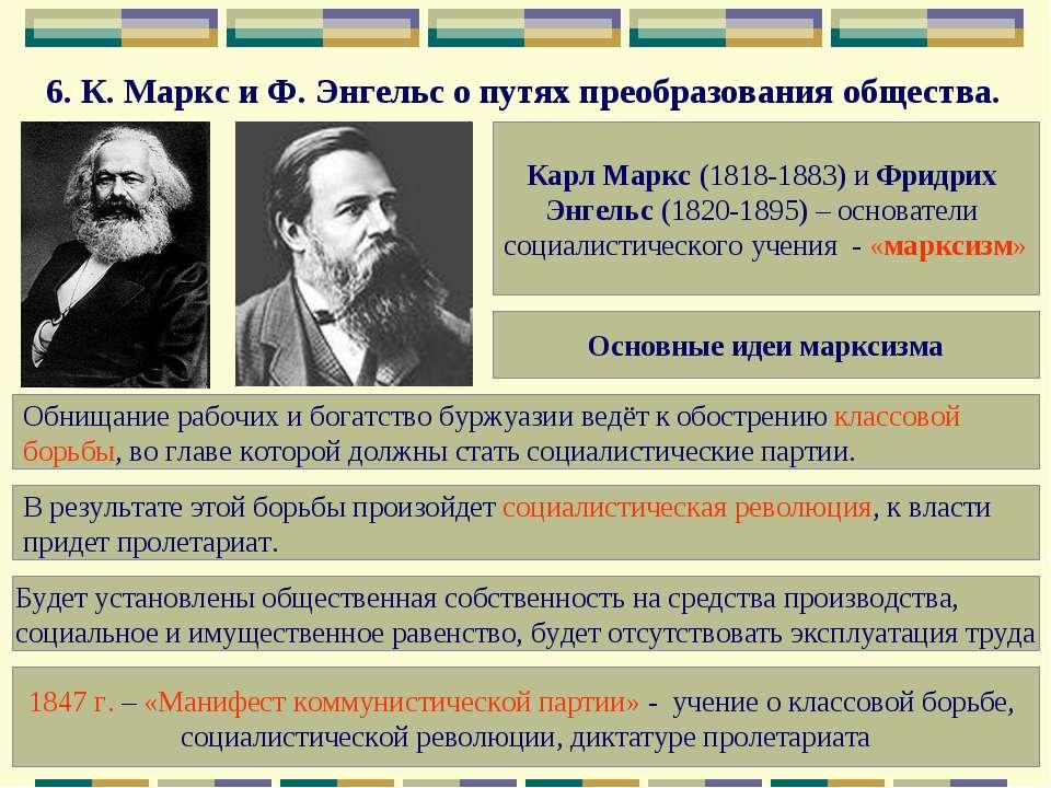 6.К.Маркс и Ф.Энгельс о путях преобразования общества. Карл Маркс (1818-18...