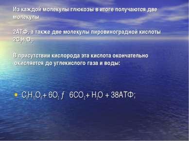 Из каждой молекулы глюкозы в итоге получаются две молекулы 2АТФ, а также две ...