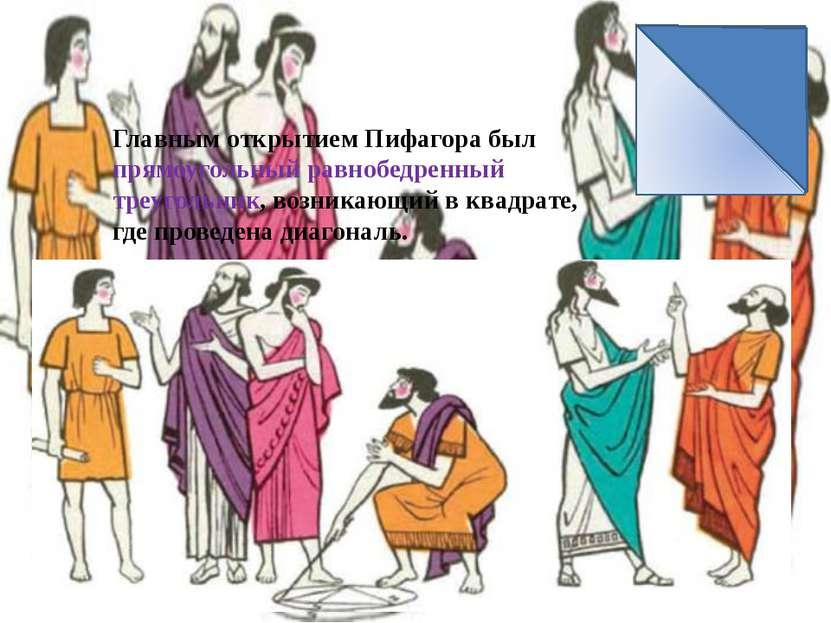 Главным открытием Пифагора был прямоугольный равнобедренный треугольник, возн...