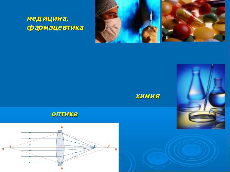 оптика медицина, фармацевтика химия