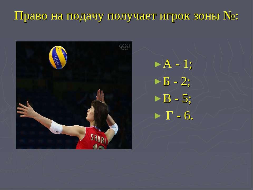 Право на подачу получает игрок зоны №: А - 1; Б - 2; В - 5; Г - 6.